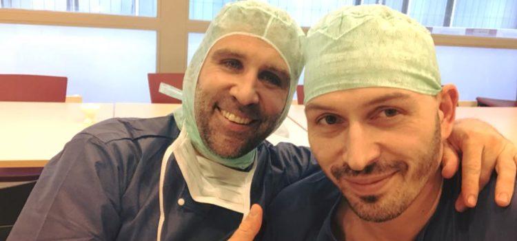 In sala operatoria con Dott. Lädermann, uno tra i più  giovani e grandi chirurghi della spalla di oggi.